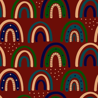Boho rainbow seamless pattern. rainbow bohemian in trendy warm golden, brown, yellow tones. modern vector illustration for textile, paper, print design