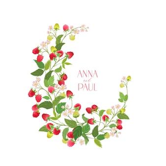 自由奔放に生きるラズベリー花の結婚式のベクトルフレーム。水彩のベリー、花、結婚式のための葉の境界線テンプレート、最小限の春の招待カード、装飾的な夏のバナー