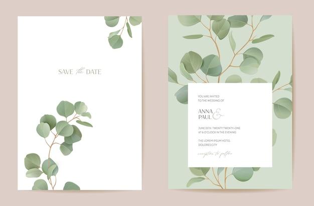 自由奔放に生きる現実的なユーカリの花の結婚式のベクトルフレーム。結婚式のための水彩熱帯緑の枝の境界線テンプレート、最小限の春の招待カード、装飾的な夏のバナー