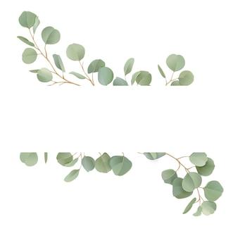 Boho 현실적인 유칼립투스 꽃 결혼식 벡터 프레임입니다. 결혼식, 최소한의 봄 초대 카드, 장식 여름 배너 수채화 열대 녹지 가지 테두리 템플릿
