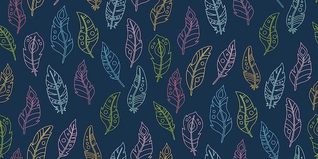 自由奔放に生きるシームレスなパターンの羽の輪郭の漫画の暗い背景。ライン鳥の羽のパターン