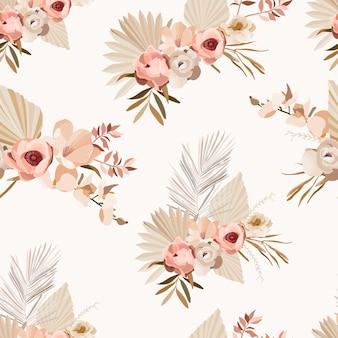 花と葉と自由奔放に生きるシームレスなパターン