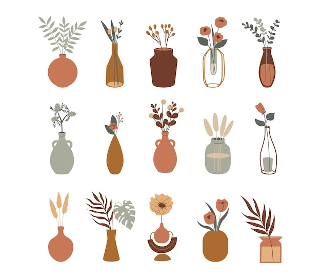 Boho set of blooming flowers in vases and bottles vector modern collection aesthetic illustration