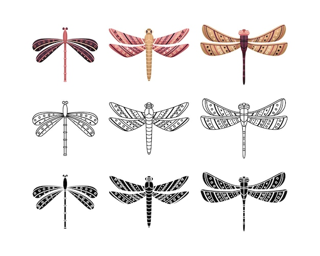 Boho set of dragonflies with geometrical patterns. outline, flat and simple style.
