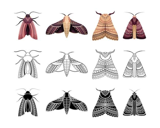 Бохо набор бабочек с геометрическими узорами. наброски, плоский и простой стиль.