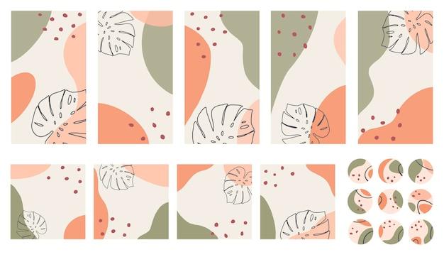Boho는 소셜 미디어 게시물 스토리 및 하이라이트 템플릿으로 설정합니다. 세기 중반 스타일의 초록 Monstera 잎과 반점 프리미엄 벡터