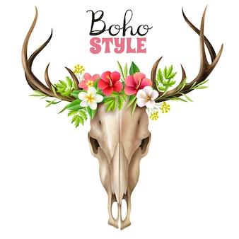 Иллюстрация boho skull