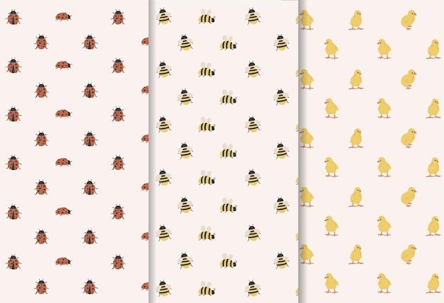 自由奔放に生きる春の昆虫パターンコレクション
