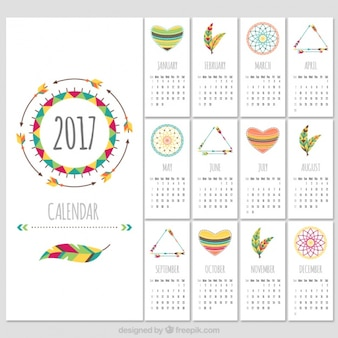 Boho style 2017 calendar template