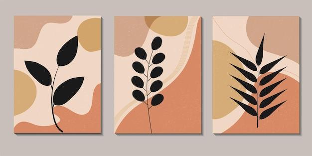 Набор абстрактных ботанических и натуральных настенных произведений в стиле бохо