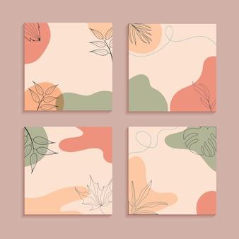 Boho 스타일 추상 식물 최소한의 자연 벽지 세트. 자연 잎 라인 아트 스타일 소셜 미디어 게시물