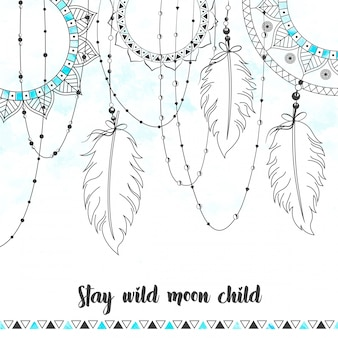 Boho style abstract watercolor hanging feathers design