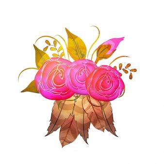 Boho stile bellissimo fiori rosa con foglie e piume. bello elemento decorativo disegnato a mano.