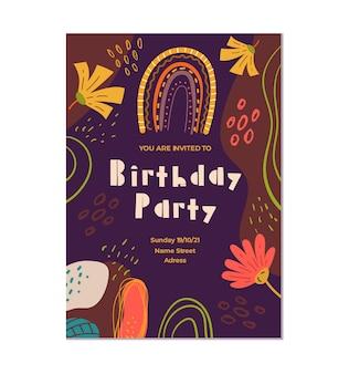 Boho 스타일 생일 초대장 템플릿 그래픽 디자인 일러스트 레이션