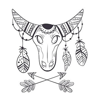 自由奔放に生きるスタイルの雄牛スケッチデザイン要素の概念
