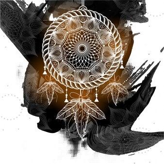 Boho стиль dream catcher с этническим племенным цветочным узором на фоне абстрактных черных мазков.