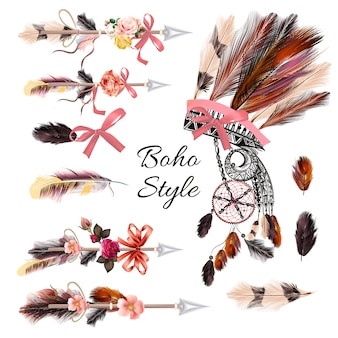 Boho style elements collection