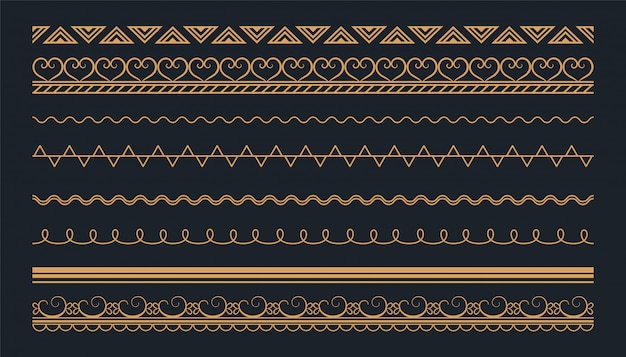Boho style ethnic seamless borders set design