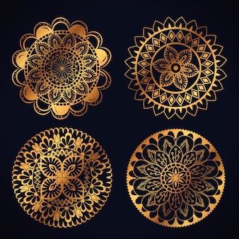 ボホスタイルの金色の曼荼羅のアイコンを設定する