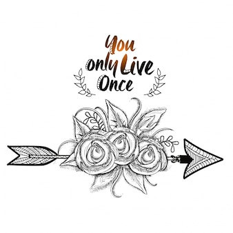 Boho style, Hand drawn flowers with ethnic arrow. Black and white illustration.