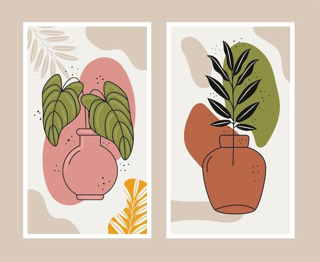 Листовые растения в стиле бохо в керамических вазах.