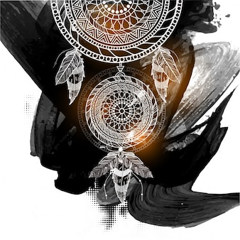 Boho style ornamental dream catcher with ethnic tribal floral pattern on abstract black brush strokes background.