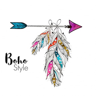 Boho style ornamental feathers hanging on arrow, creative hand drawn ethnic elements.