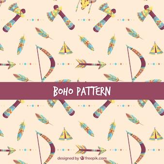 Boho style pattern with flat design
