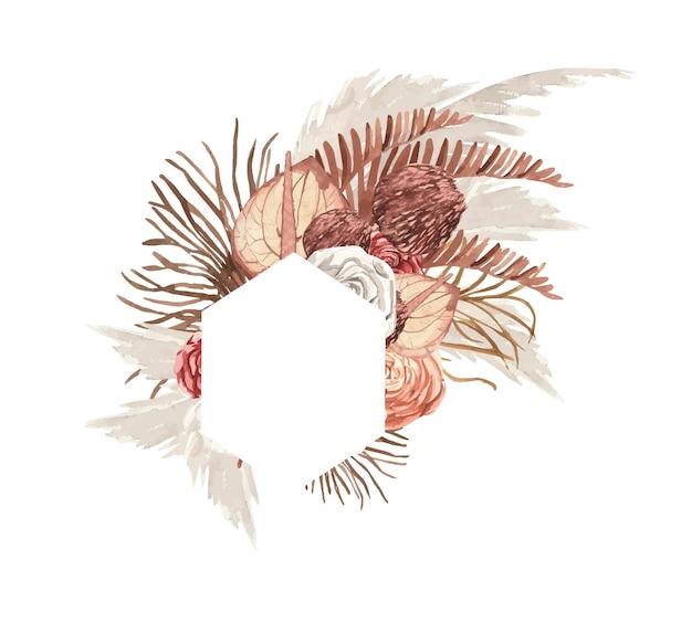 버건디와 베이지색 꽃과 잎이 있는 보헤미안 스타일 수채화 프레임