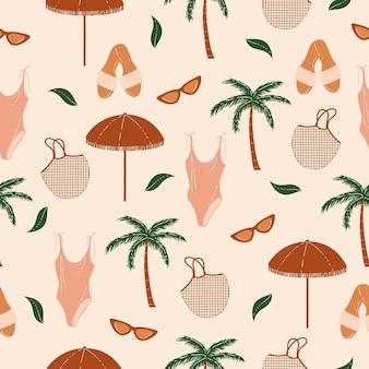 Бохо летний пикник бесшовные модели праздник отпуск векторные иллюстрации узор фона