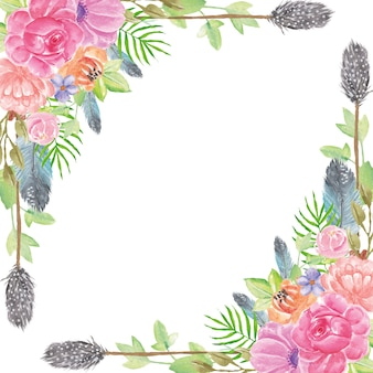Boho summer watercolor flowers background