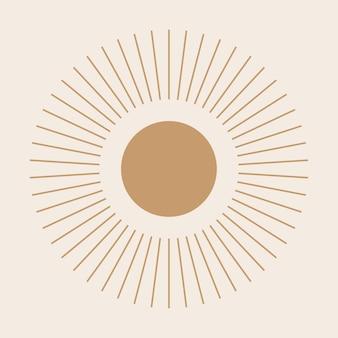 Boho sun solar ray folkloric abstract  graphic nursery poster.