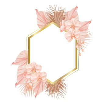 Boho tropical orchids geometric frame
