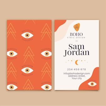 Шаблон вертикальной визитки в стиле бохо
