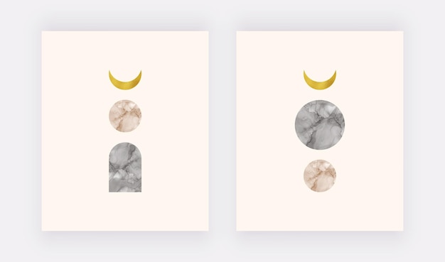 Boho wall art print with golden foil moon and black and nude alcohol ink shapes