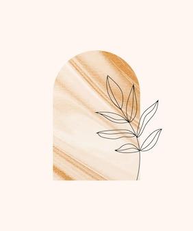 Настенный принт в стиле бохо с листом.