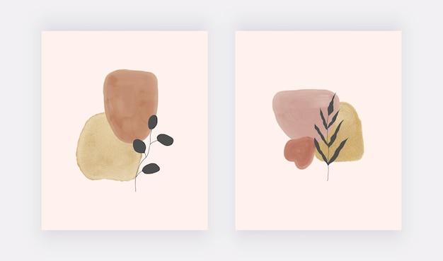 수채화 모양과 잎이있는 boho 벽 예술 인쇄