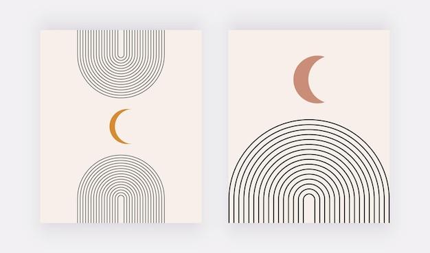 Boho wall art prints with black lines and orange moon