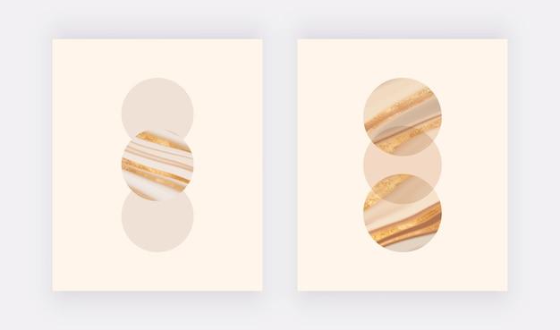 Настенные принты в стиле бохо с золотыми круглыми жидкими формами