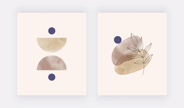 Бохо акварель геометрические формы с листом wall art принты