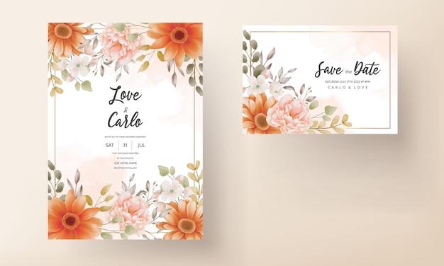 Бохо свадебное приглашение коричневый цветочный