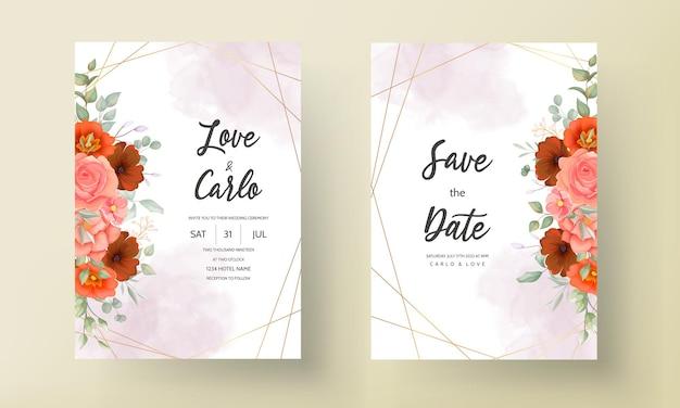 自由奔放に生きる結婚式の招待カード茶色の花