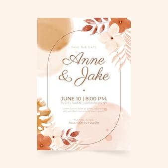 Boho wedding invitation template