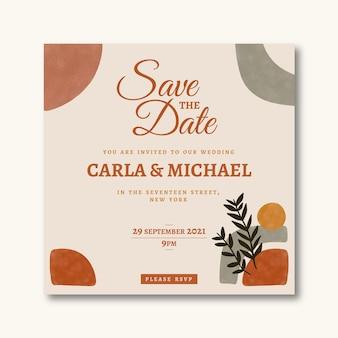 Шаблон свадебного приглашения в стиле бохо