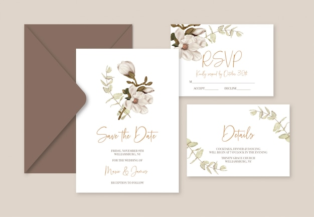 Boho wedding template cards with magnolia  and eucalyptus