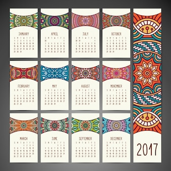 Boho стиль календаря дизайн