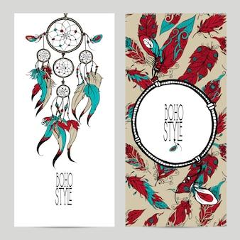 Набор баннеров стиля boho