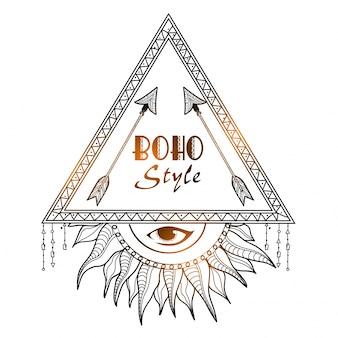 Bohoスタイルの光沢のある種族のフレームで、矢と目を見ている人。手描きの装飾的な倫理的要素。
