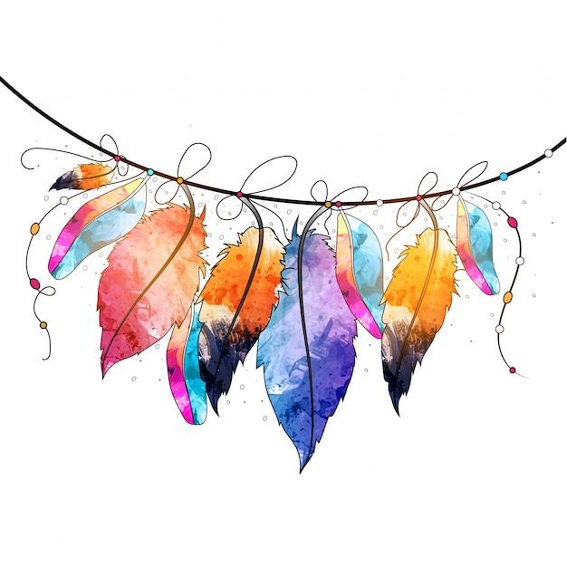Boho стиль абстрактные акварель висит перья дизайн, творческий ручной обращается декоративный элемент.
