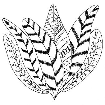 Bohoスタイルの装飾的な羽のデザイン
